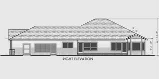 side elevation one level house plans side view narrow lot with wrap around porch