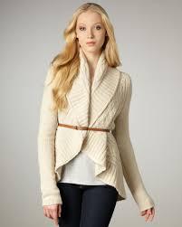 Autumn Cashmere Rib Drape Cardigan Autumn Cashmere Draped Cable Knit Cardigan In White Lyst