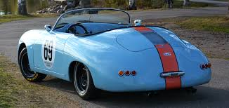 porsche 356 speedster replica gulf livery back view supercar