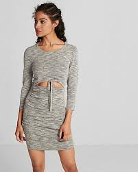 ruched crew neck sweater dress express