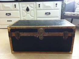 vintage steamer trunk coffee table storage old travel world suite