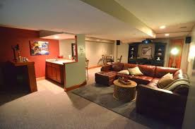 interior divine basement home theater decoration using red and