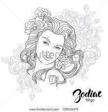 zodiac vector illustration pisces flowers stock vector