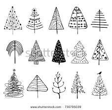 15 designs doodle trees create stock vector 730795039