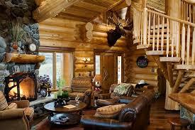 Cabin Sofa Interior U0026 Architecture Log Cabin Style Decor Idea With Leather
