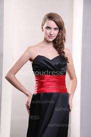 black evening gowns sweetheart pleats red sash bow sweep train