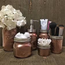 mason jar bathroom set 6 piece set metallic rose gold bathroom