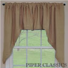 country straight valance curtains burlap natural pattern 72