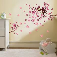 wall decals for nursery girl cherry blossom tree monkey design 3d baby nursery wall decals for nursery girl cherry blossom tree monkey design 3d butterfly wall sticker