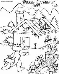 coloring pages pigs houses 3 pigs