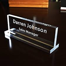 Name Plates For Office Desk Acrylic Name Plate Office Desk Bar Custom