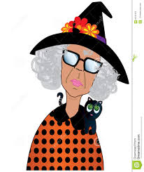 funny old lady dressed up for halloween stock illustration image