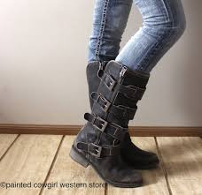 womens boots distressed leather corral s distressed black straps buckle zipper boots p5079