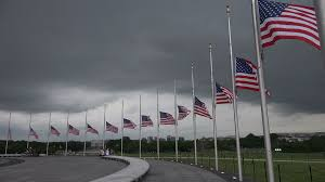 Flag Half Mass Today Half Staff Half Mast Flags Lincoln Memorial Bg 4k Stock Video