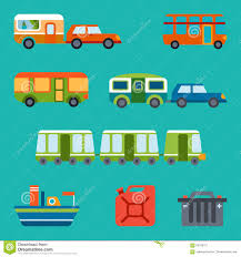 travel illustration with different types of transport stock vector