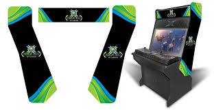 sit down arcade cabinet customer submitted xbox 360 inspired graphics theme for the 32 sit