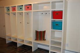 Entryway Bench And Storage Shelf With Hooks Furniture White Wooden Mudroom Lockers Ikea With Cushion Bench