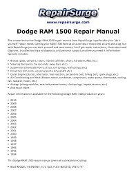 1999 dodge ram service manual dodge ram 1500 repair manual 1994 2010