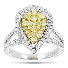 rings gold white images Unique 14k gold white yellow diamond pear shape cluster ring for jpg
