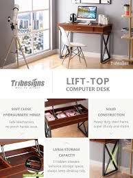 Convert Normal Desk To Standing Desk Amazon Com Tribesigns Lift Top Computer Desk Height Adjustable