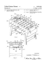 foosball table patent 1975 patent print wall decor soccer