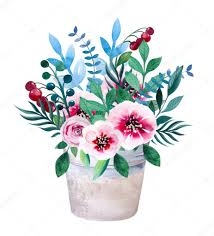 bouquets of flowers watercolor bouquets of flowers in pot rustic floral set stock