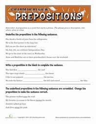 grammar review prepositions worksheet education com