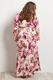 Light Pink Dress Plus Size Light Pink Floral Draped 3 4 Sleeve Plus Size Maxi Dress