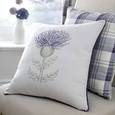 Stag Cushions Mauve Balmoral Thistle Cushion Dunelm Hunting Lodge Lounge