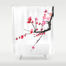 Plum Flower Curtains Secondary Color Shower Curtains Society6