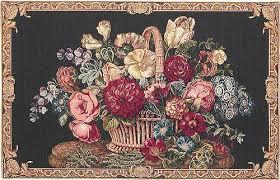 basket of flowers basket of flowers tapestry floral wall tapestries