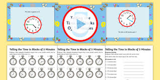 telling the time in blocks of 5 task setter powerpoint with