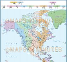 digital vector north and south americas time zones map 20 000 000