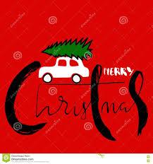 merry christmas modern car with a christmas tree merry christmas handwritten modern