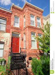 red brick italianate row house home washington dc stock photos