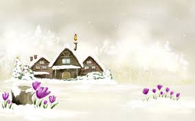Animated Snowy Christmas House Cartoon Wallpap 3502 Wallpaper