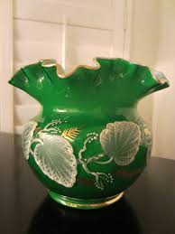 Vintage Vases For Sale Charleton Hand Decorated Green Ruffle Glass Vase For Sale