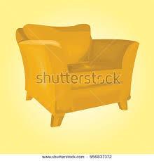Orange Armchair Classic Orange Wingback Chair Front View Stock Vector 337961252