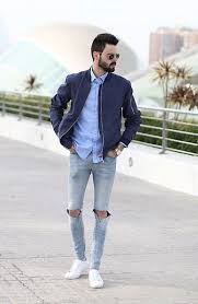 light blue jacket mens top 10 bomber jackets that scream high fashion grey ripped jeans