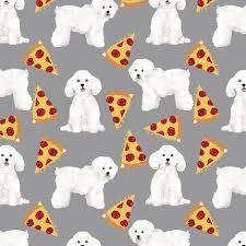 bichon frise quilt bichon frise pizza fabric cute pizza design dogs design best dogs