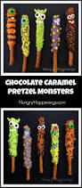 chocolate caramel pretzel monsters halloween treats