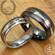 wooden wedding ring sets black ceramic and tungsten wedding ring set with abalone pau a