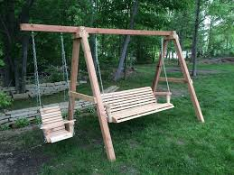 6ft cedar porch swing on a frame with toddler swing yelp