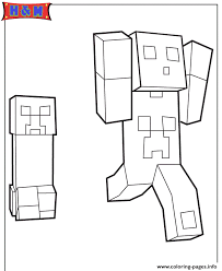 creeper chasing minecraft player coloring pages printable