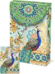 punch studio pouch note cards 57938 royal peacock by