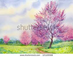 watercolor spring landscape flowering tree field stock