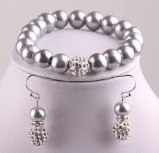 glass pearl bracelet images Fashion jewelries sets grey glass pearl jewelry set with spacers jpg