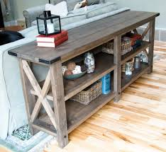 Kitchen Console Table With Storage Sofa Attractive Diy Sofa Table Storage Tables Rustic
