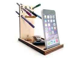 Wood Desk Accessories And Organizers Papp Is A Laser Cut Wood Phone Organizer With Desk Caddy And Pen