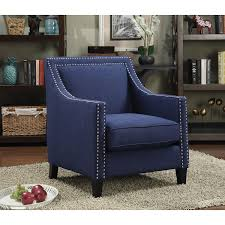 Blue Accent Chairs For Living Room by Erica Contemporary Polyester Accent Chair Blue Accent Chairs
